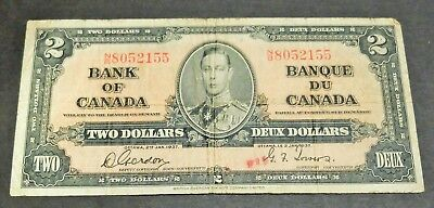1937 Bank Of Canada $2 Dollar Note, Circulated Condition, Lot#10