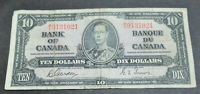 1937 Bank Of Canada $10 Dollar Note, Circulated Condition, Lot#12