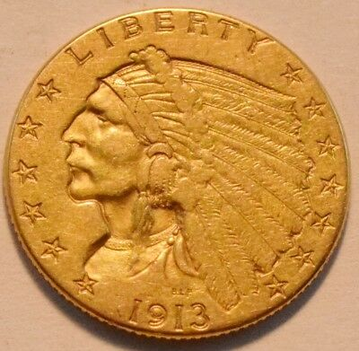 1913 $2.50 Gold Indian Quarter Eagle, Higher Grade 2 and 1/2 Coin, Nice Type
