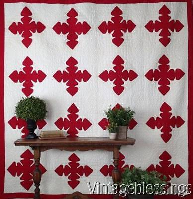 "Fantastic! c1900 Red & White Reverse Applique QUILT 85x83"" Never Used/washed"