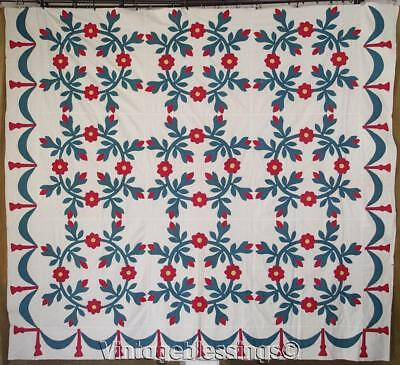 Grand Presidents Wreath ANTIQUE c1850 Red Green QUILT TOP 83x92