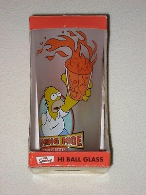 The Simpsons Flaming Moe Hi Ball Glass In Box