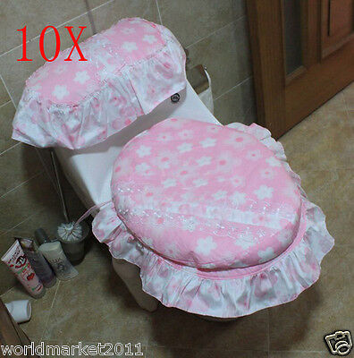 10X Flowery Pattern Practical Pink 44 * 37 CM Cotton Three-Piece Toilet Covers