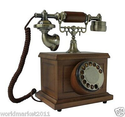 European Antique Reproduction Solid wood + Metal Square Rotary Dialer Telephone