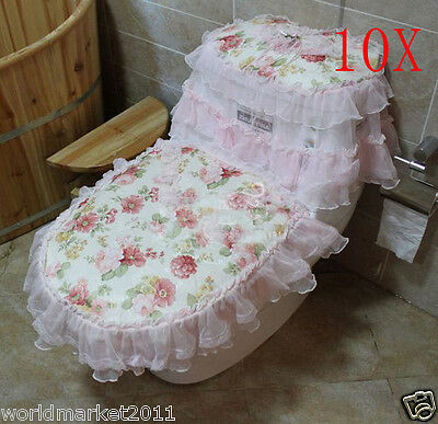 10X Lovely Practical Pink S 45*36 CM Fabric Flowery Three-Piece Toilet Covers