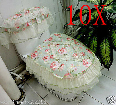10X Lovely Green S 45*44 CM Cotton Rose Pattern Three-Piece Toilet Covers