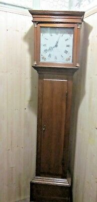 "ANTIQUE J WOOD GRANTHAM OAK GRANDFATHER EARLY 11"" 30hr PAINT DIAL LONGCASE CLOCK"
