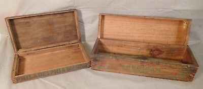 Lot of 2 Antique Wood Dovetailed Cheese 5 Lb Adv. Boxes w/Lids
