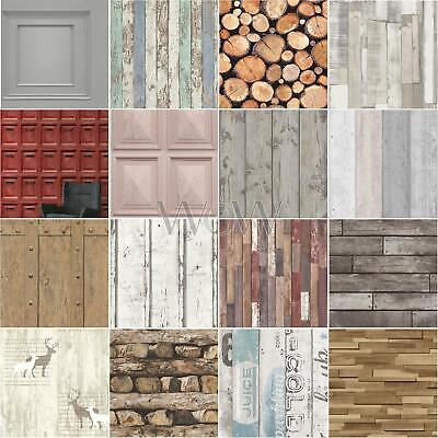 Wooden Effect Wallpaper - Rustic Wood Panels Chopped Logs Planks Mail Boxes