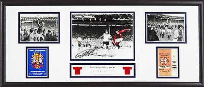 """GEOFF HURST FRAMED SIGNED ENGLAND 1966 WORLD CUP FOOTBALL 30""""x12"""" PHOTO & PROOF"""
