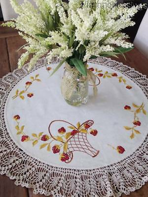 "Large 31"" Antique Basket of Strawberries Society Silk Centerpiece Doily"