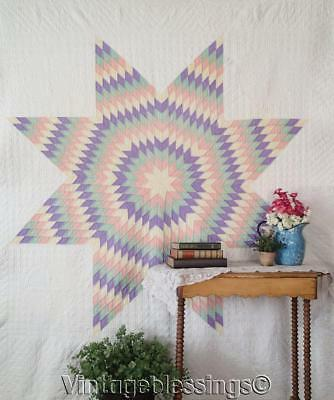 Hand Quilting Showpiece VINTAGE 20s Star of Bethlehem QUILT Solid Pastels Amish