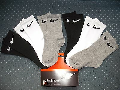 Toddler Boys NWT NIKE Crew Socks 6prs Solid Black White Heather Gray Sz:3T-4T