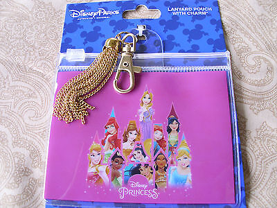 Disney * PRINCESS GROUP * Pin Trading Lanyard Clip Fast Pass Pouch w/ Tassell