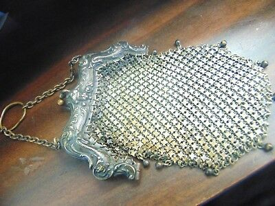 Antique Warranted German Silver Frame Mesh Coin Evening Purse 10.00 Start Price