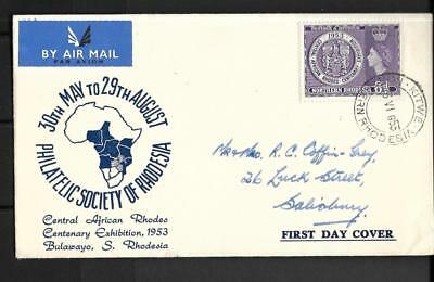N.rhodesia, Qe11 1953, Rhodes Centenary Issue, On Illustrated Fdc
