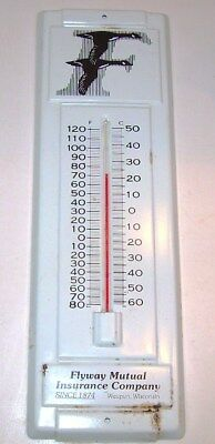 "Vintage Metel Thermometer - 143 Years ""Flyway Mutual Insurance Co."" Waupun, Wis."