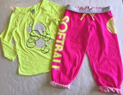 JUSTICE Girls size 14 SOFTBALL SHIRT SWEAT CAPRI'S OUTFIT NEW NWT