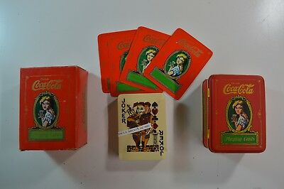 Vintage 1980 Coca Cola Playing Cards in Decorative Tin (Cards still SEALED) NIB