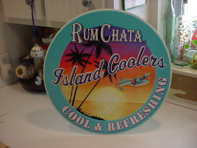 """nice RUM CHATA ISLAND COOLER round 20"""" tin embossed SIGN"""