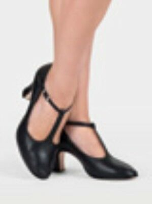 """New in Box ~ BLOCH Black Leather Character Shoe T-Strap 3"""" Style S0385L size 8"""