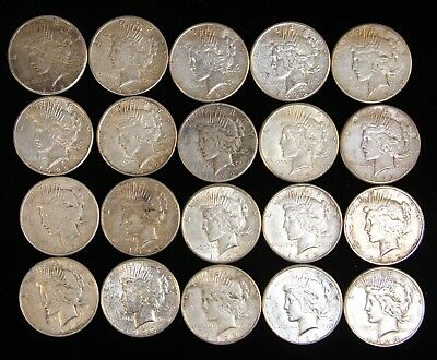 Twenty (20) Circulated Peace Silver Dollars $ 1922-S / 1923-S VF-XF 1 Roll