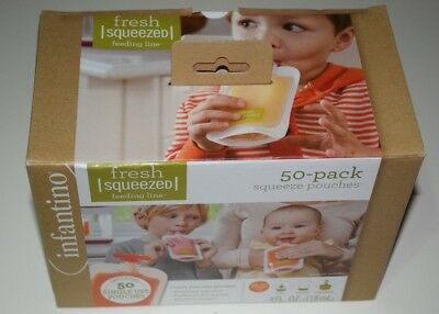 Infantino Squeeze Pouches Baby Food Station Feeding Puree Fresh 50 Count 4oz NEW