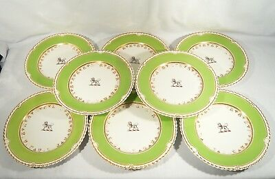 """8 Signed 19th Century Chamberlains Worcester China 9""""  Plates  Armorial Leopard"""