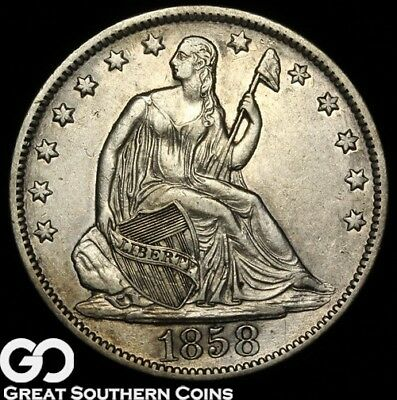1858-O Seated Liberty Half Dollar , Choice AU++ New Orleans Silver Half