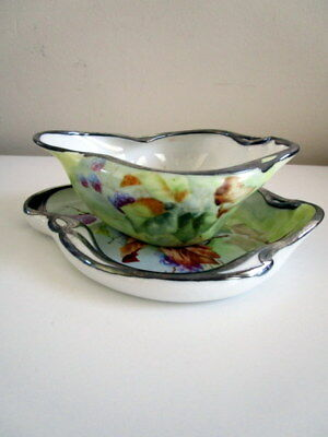 Antique Porcelain Bone China Gravy Boat Separate Under Plate Silver overlay