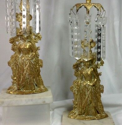 """Antique Mantle Lusters Brass Marble Base 13 5"""" Lusters Prisms Candle Holders"""