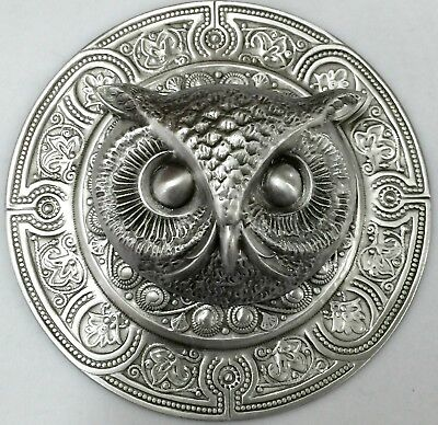 """EXTRA SUPER LARGE 3"""" INCH Stamped Brass Antique & Vintage~""""OWL""""~Picture Button"""