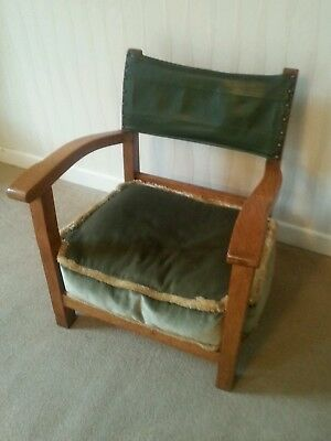 Antique Nursing Chair / Fireside Chair -  Oak And leather With Arms And Cushion