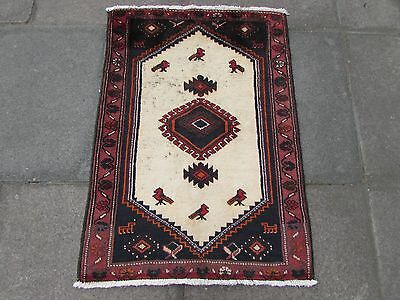Old Traditional Persian Rug Oriental Hand Made Wool Cream Small Rug 95x69cm