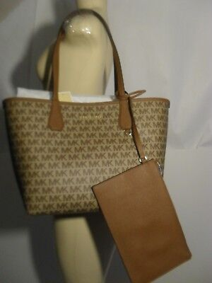 Michael Kors Candy Large Reversible Tote Luggage Brown Signature Khaki  Pouch Bag 508f7f824469c