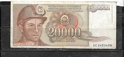 Yugoslavia #95 1987 20000 Dinara Vg Used Old Inflation Banknote Paper Money
