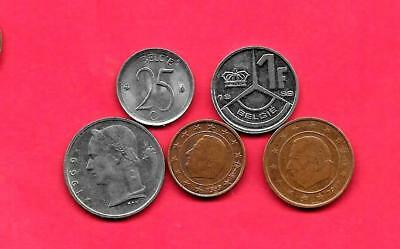Belgium Belgian 5 Diff Different 1964-2007 Circ Coin Lot Collection Set W Old