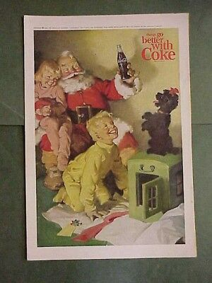 1964 Santa Claus Drinking a Coca Cola, Coke, with Children & Poodle ad, National