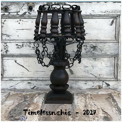 Large Vintage Wood & Wrought Iron Medieval Spanish Gothic Revival Table Lamp