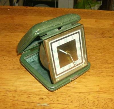 Vintage German rear wind travel  alarm clock in case .w/o ARTCO