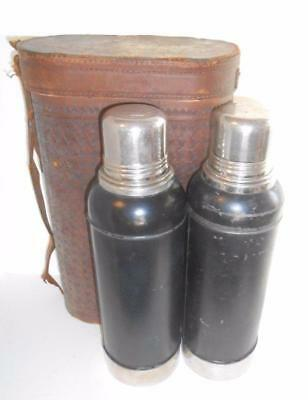 c1913 very early STANLEY Ferrostat two LARGE thermos set COBALT & leather case