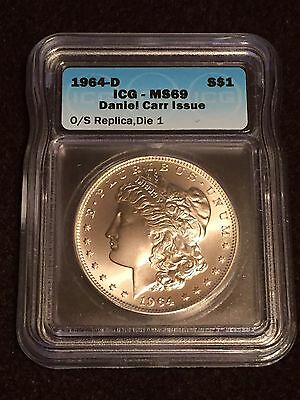 ICG MS69 1964-D Daniel Carr Morgan Dollar Die Pair 1 O/S with COA Moonlight Mint