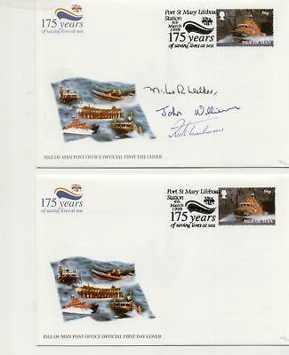 Isle of Man 1999 Port St Mary Lifeboat Station Cover with Three Signatures