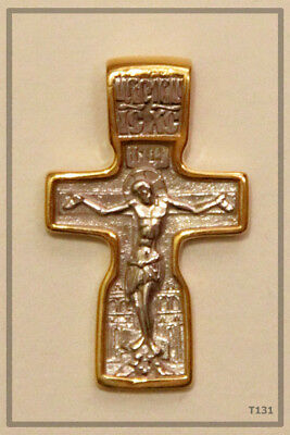 Russian Orthodox Silver Gold Cross Pendant Medallon Icon Jesus Christ (T131)