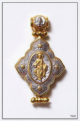 925 Silver Gp Orthodox Crucifix Cross Gold Medallion Pendant Locket (T134)