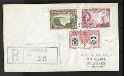 N.rhodesia, Qe11 1954 Cover To Bulawayo, 3 Territories Stamps On 1 Cover