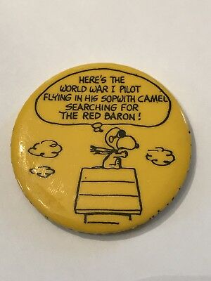 """Rare Vintage 1966 Snoopy The Peanuts Red Baron Pin Button Badge Yellow 1.75"""""""