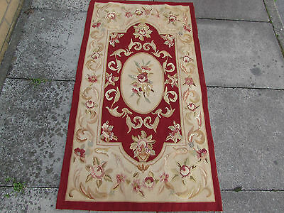 Old Hand Made French Design Wool Maroon Red Original Aubusson 144X80cm
