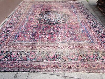 Antique Shabby Chic Hand Made Persian Oreintal Wool Red Pink Carpet 390x315cm