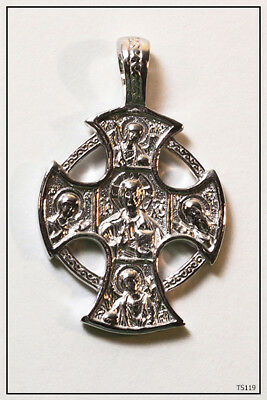 Russian Orthodox 925 Silver Cross Pendant Jesus Christ(Ts119)